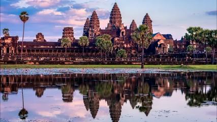 Fotomurales - Timelapse of Cambodia landmark Angkor Wat