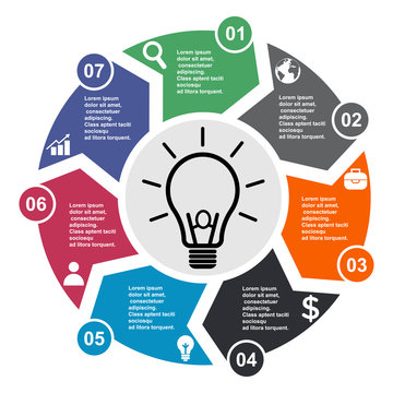 7 step vector element in seven colors with labels, infographic diagram. Business concept of 7 steps or options with bulb