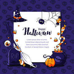 Halloween postcard vector illustration with scary theme and space for text. Halloween card with eyeballs, pumpkin, broom, tombstone, sweets, spider, web. Halloween hand drawn lettering.