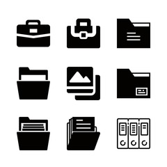 portfolio icons set with picture square, briefcase and portfolio filled tool vector set