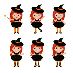 Adorable little witch character in different poses. Halloween costume. Vector.