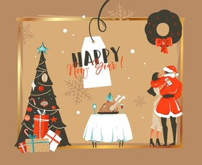 Hand drawn vector abstract Happy New Year time cartoon illustrations retro card with romantic couple who kissing and hugging under the mistletoe,xmas tree and dinner table isolated on craft backgroun