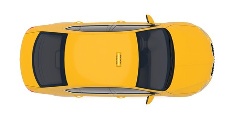 Taxi car top down view. Yellow taxicab sedan with checker top light box on roof flat style 3D illustration isolated on white background. For taxi service app, transport company ad, infographics