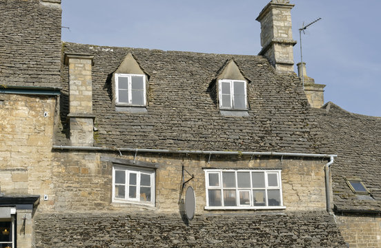 Subsidence damage at windows in a medieval house in the Cotswolds region of England