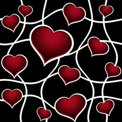 Abstract red hearts over black vector seamless background.