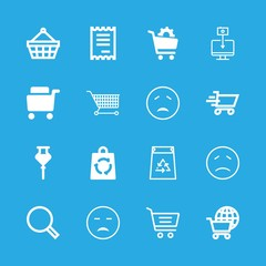16 consumer icons with shopping basket commercial tool and e commerce search in this set