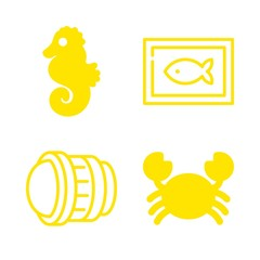4 fish icons with fisheye len and crab in this set
