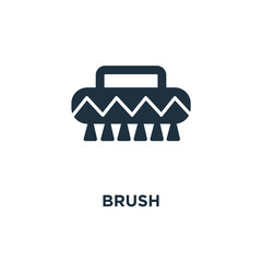 Brush icon. Black filled vector illustration. Brush symbol on white background.