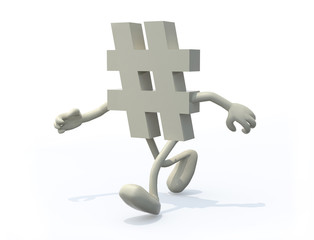 hashtag symbol with arms and legs