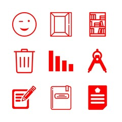 paper icons set with document, compass maths drawing tool and write vector set