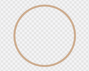 Circular frame made of natural rope or cord, isolated on a transparent background