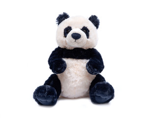 Aluminium Prints Panda Panda bear stuffed plush toy isolated on white background
