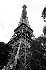 high eiffel tower in Paris France in Black and White