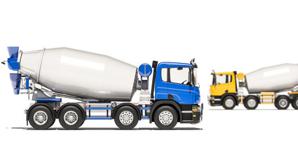 Concrete Mixers Positioned in Opposite Directions 3d rendering