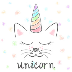 Cute unicorn, cat meow illustration. Funny princess and crown for print t-shirt. Hand drawn style.