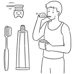 vector set of man brushing teeth