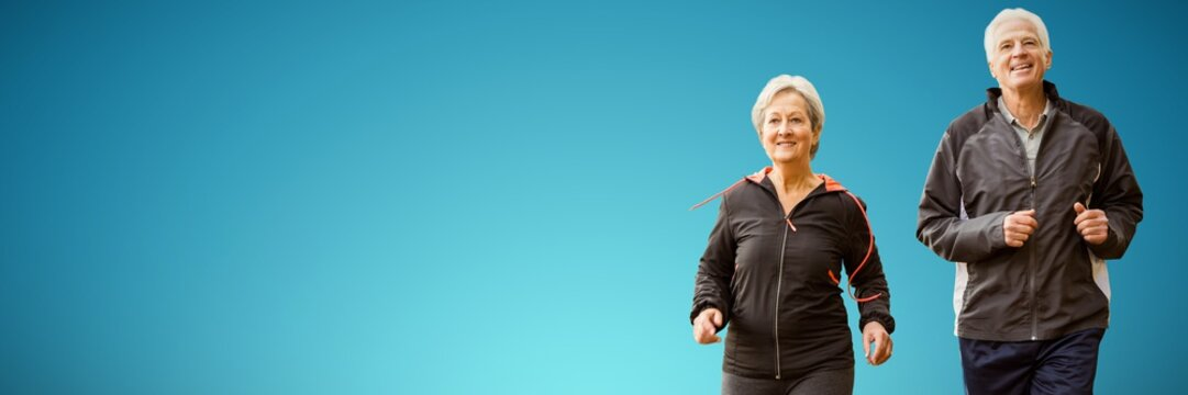 Composite image of  elderly couple running together