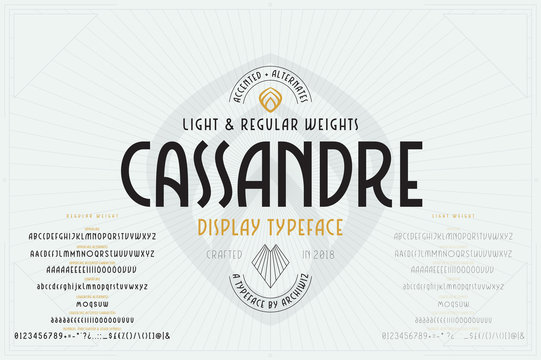 Vector Art Deco Font. Industrial alphabet with regular and light weights, various alternates and accented characters. Typeface suitable for headlines, logos, packaging, card and poster designs.