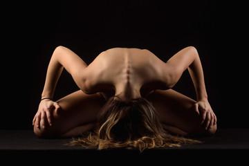 Fotografia di nudo artistico fotografico di silhouette di donna sexy adulto con arte schiena piegata