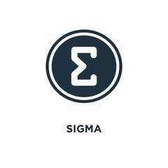 Sigma icon. Black filled vector illustration. Sigma symbol on white background.