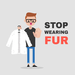 Stop wearing fur. Vegetarian campaign against the fur industry. Eco friendly behaviour. Ban. Protect the animals. Flat editable vector illustration, clip art