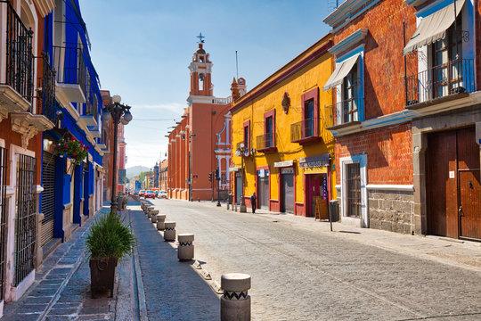 Puebla, Mexico-20 April, 2018: Puebla streets in historic center
