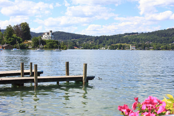 Lake Wörther See and mountains in Austria