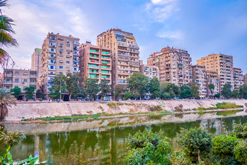 The residential high-rise buildings in Cairo, Egypt