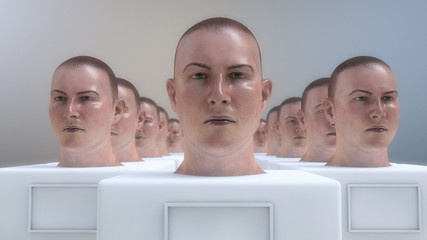 3d render. Humanoid head repetition