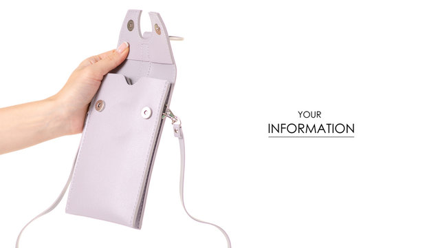 Small gray female bag case for mobile phone smartphone in hand pattern on white background isolation