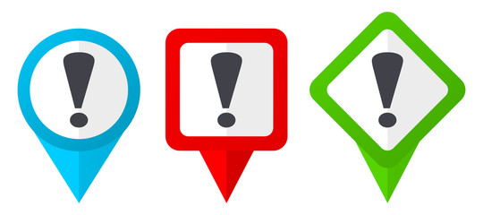 Exclamation sign red, blue and green vector pointers icons. Set of colorful location markers isolated on white background easy to edit.