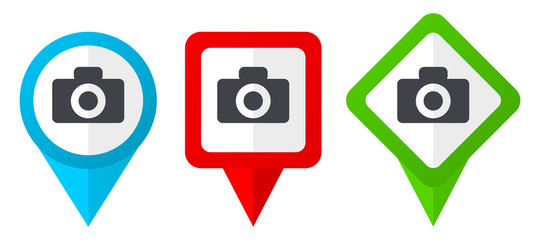Camera red, blue and green vector pointers icons. Set of colorful location markers isolated on white background easy to edit.