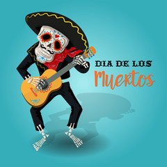 Invitation poster to the Day of the dead party. Dea de los muertos card with skeleton playing the guitar.