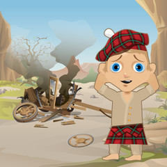 Cute Poster in Wild West Style. Young Man in Traditional Scottish Red Tartan Bonnet, Tam o' Shanter, stands, holding his head, next to the collapsed wooden cart. Western style. Vector cartoon close-up