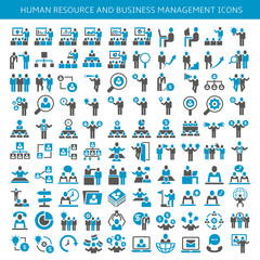 set of icons for human resource, business people meeting, conference and office