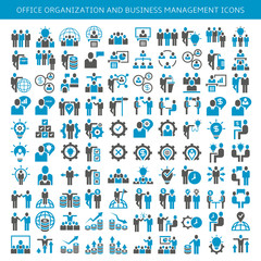 set of icons for business people meeting, conference, finance and management