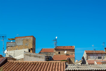 blue sky on the roofs of the old city