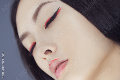 Asian Beauty Woman Skin Care Close Up Beautiful Young With Perfect Face Looking Closed Eyes Isolated On Gray Background