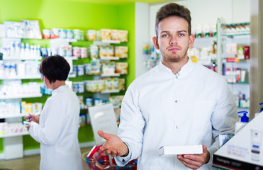Pharmaceutist working in chemist shop