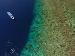 Drone image of boat in Manado