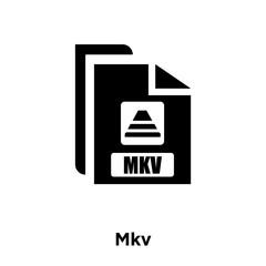 Mkv icon vector isolated on white background, logo concept of Mkv sign on transparent background, black filled symbol