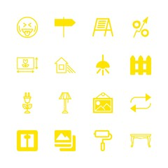 16 wall icons with picture square and house and shade in this set