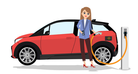 Woman charges an electric car at a charging station for electric vehicles. Isolated on white background.