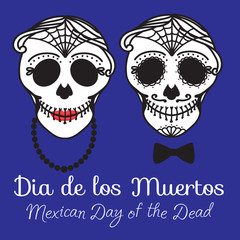 Old Catrina woman and man with make up of sugar skull. Dia de los muertos. Mexican Day of the dead. Vector illustration hand drawing