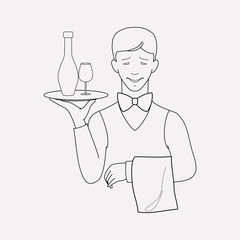 Waiter icon line element. Vector illustration of waiter icon line isolated on clean background for your web mobile app logo design.