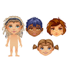 Set of drawn animated children isolated on white background. Set for modeling cute young peoples without clothes. Vector cartoon close-up illustration.