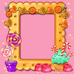 Beautiful cute greeting card with frame and space for your text, picture or photo in the style of a sweet tooth and pastry isolated on pink background. Vector cartoon close-up illustration.