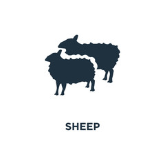 Sheep icon. Black filled vector illustration. Sheep symbol on white background.