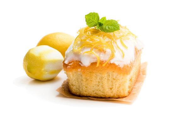 Homemade lemon loaf isolated on white