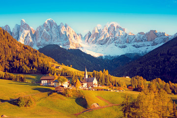 Incredible landscape with the church in the valley of Santa Magdalena, Italy, Europe, Dolomites